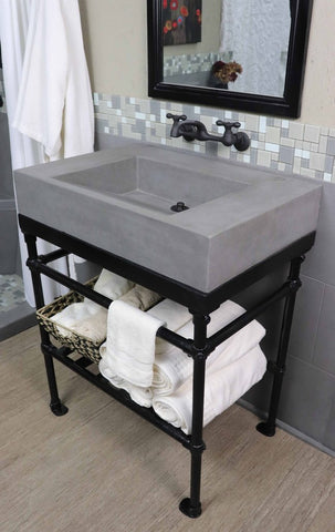 Industrial Loft Rectangular Basin and Pipe Vanity  Bowl - American Bath Factory