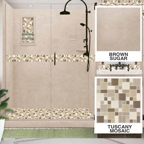 "Tuscany Mosaic Brown Sugar 60"" Alcove Shower Kit"