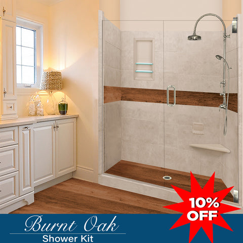 "Stone & Wood Accent Shower Kit Burnt Oak 60"" Alcove G"