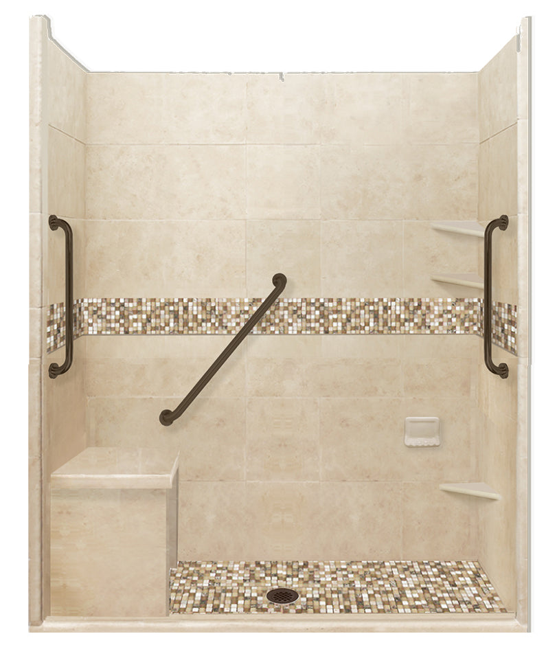 "Freedom Access 1"" Threshold Collection Roma Alcove Shower Kit - American Bath Factory"