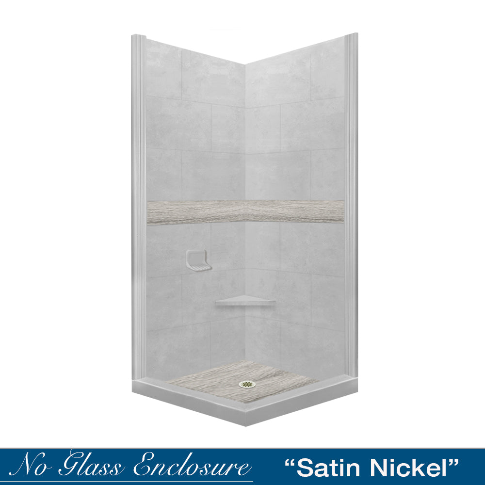 Sterling Oak Portland Cement Corner Shower Kit