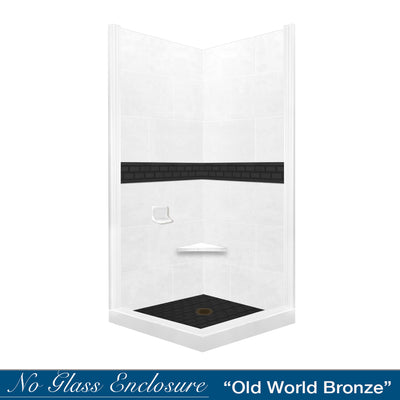 Natural Buff Corner Shower Kit with Subway Black Accent: Price below has been discounted 20%