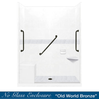 "Freedom Jewel Natural Buff 60"" Alcove Shower Kit"