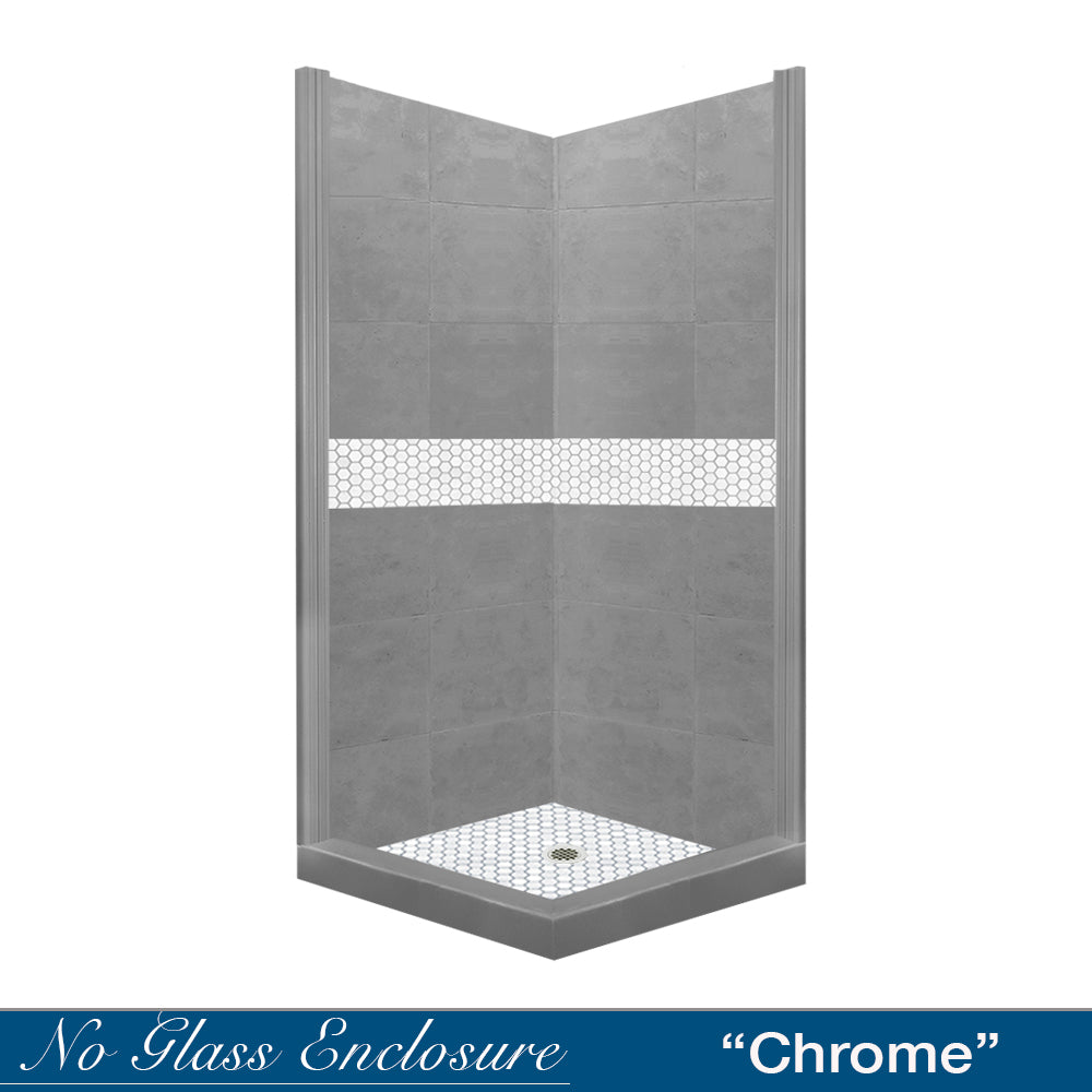 Pearl Hex Mosaic Wet Cement Corner Shower Kit