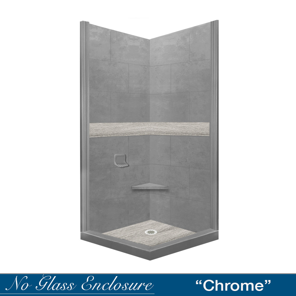 Sterling Oak Wet Cement Corner Shower Kit