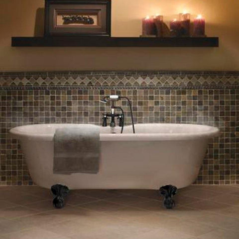 "Double Ended Small Claw Feet 60"" Bathtub & Old World Bronze Telephone Deck Mount Faucet with Supplies Lines & Integrated Drain"