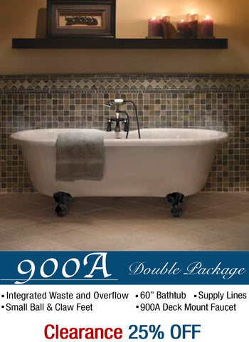"Double Ended 60"" Small Claw Feet & Integrated Drain - CLEARANCE  Clearance Bathtub - American Bath Factory"