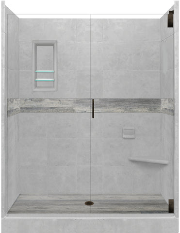 "Sterling Oak Lifeproof Flooring 60"" Alcove Shower Kit  Shower Kit - American Bath Factory"