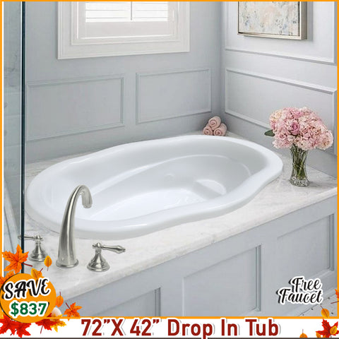 FALL SPECIAL! Caspian 72 X 42 Drop in Tub with FREE F400 DM Faucet
