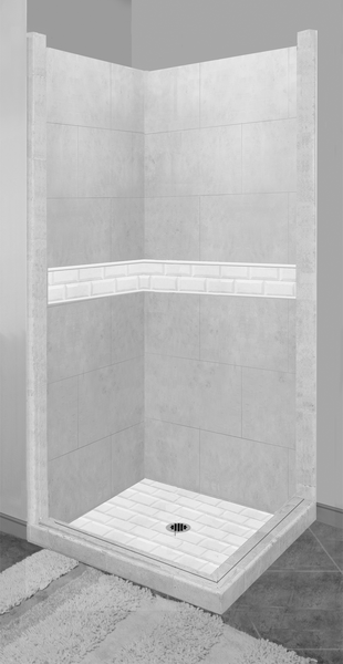 Subway Corner Shower Kit Style & Color Options - American Bath Factory