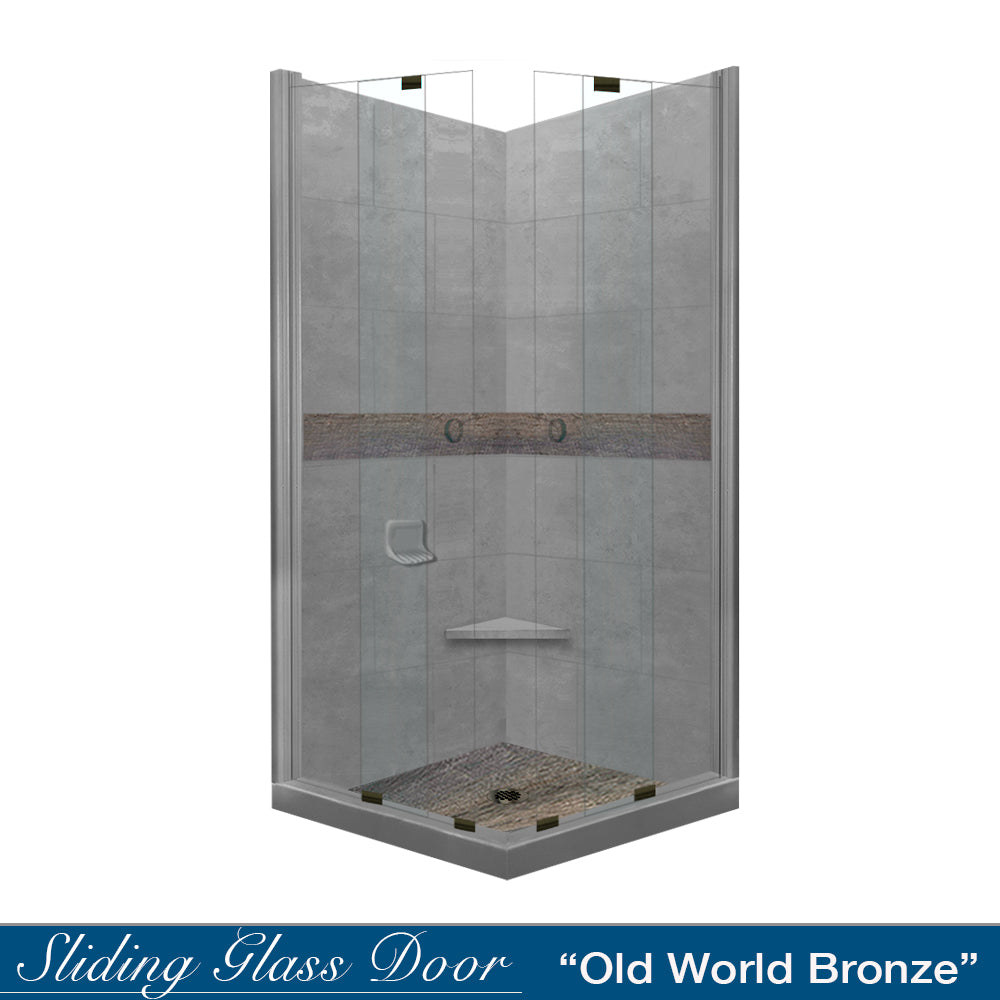 Seasoned Wood Wet Cement Corner Shower Kit