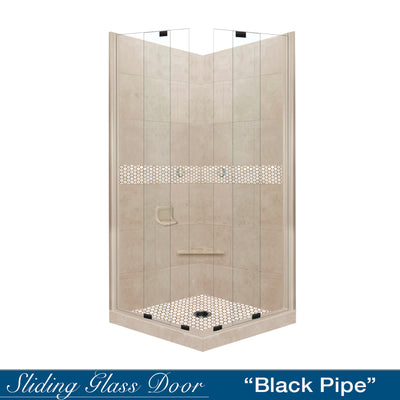 Honey Hex Mosaic Brown Sugar Corner Shower Kit