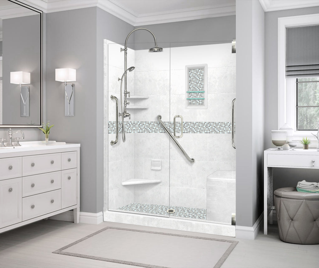 "Stone & Glass Mosaic Freedom Shower Kit Del Mar 60"" Alcove G  Google Shower - American Bath Factory"
