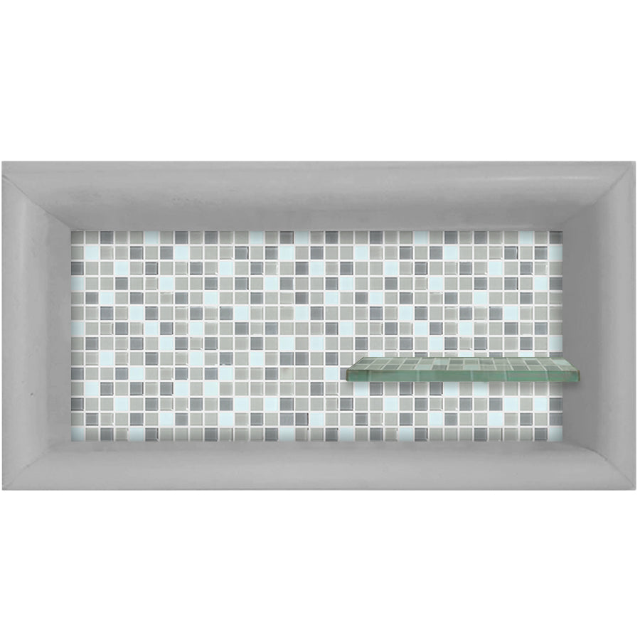 Mosaic Tile Horizontal Shampoo Shelf  Shower Detail - American Bath Factory