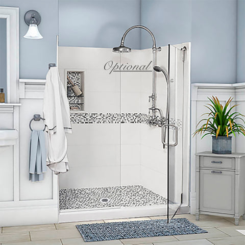 "Stone & Tile Shower Kit Del Mar 60"" x 30"" Grand Alcove  Google Ad Shower - American Bath Factory"