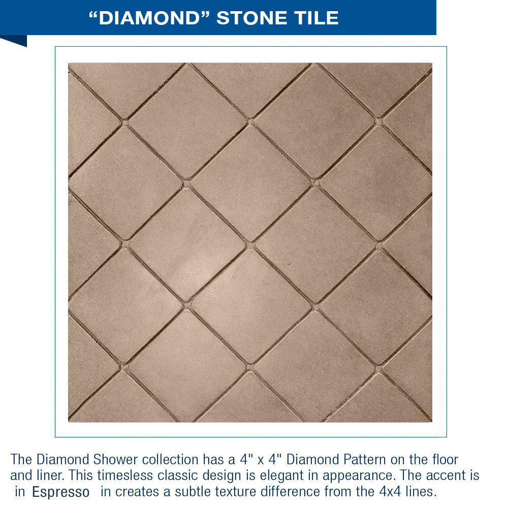 "SUMMER SALE $500 OFF Diamond Brown Sugar 60"" Alcove Shower Kit"