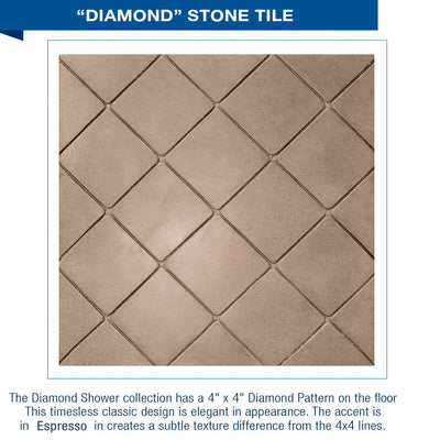"Freedom Standard Diamond Solid Brown Sugar 60"" Alcove Shower Kit"