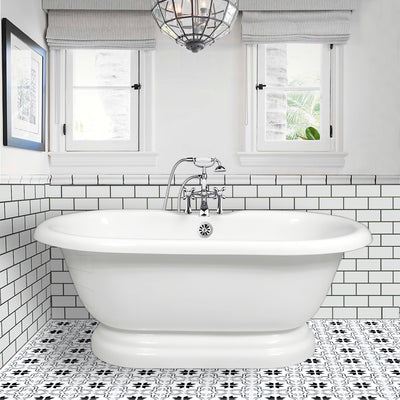 "Double Ended Pedestal 60"" Bathtub & Chrome Telephone Deck Mount Faucet with Supplies Lines & Integrated Drain  Google Ad Bathtub - American Bath Factory"