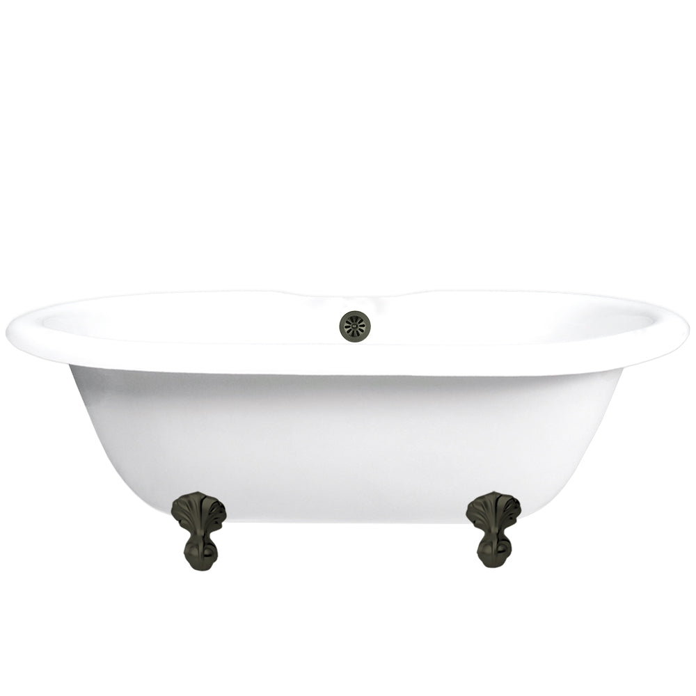 "Double Ended Ball & Claw Feet 60"" Bathtub Old World Bronze & Integrated Drain  Google Ad Clawfoot - American Bath Factory"