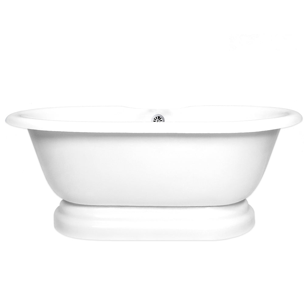 "Double Ended pedestal 60"" Bathtub Chrome & Integrated Drain  Google Ad Pedestal - American Bath Factory"