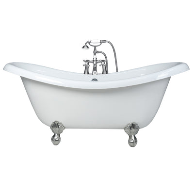 "Double Slipper Ball & Claw Feet 67"" Bathtub  Chrome & Telephone Deck Mount Faucet with Supplies Lines  Google Ad Bathtub - American Bath Factory"