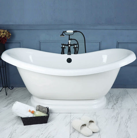 "Double Slipper Pedestal 67"" Bathtub Old World Bronze  Google Ad Bathtub - American Bath Factory"