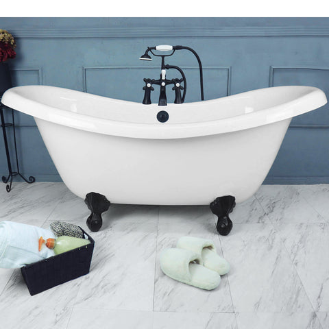 "67"" Double Slipper Bathtub with Old World Bronze Ball & Claw Feet  Google Ad Clawfoot - American Bath Factory"