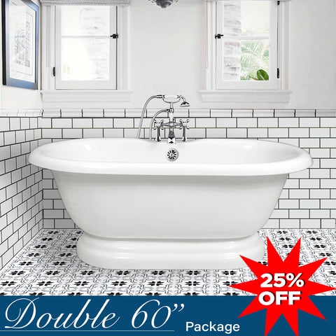 "Double Ended 60"" Pedestal Base & Integrated Drain G  Google Bathtub - American Bath Factory"