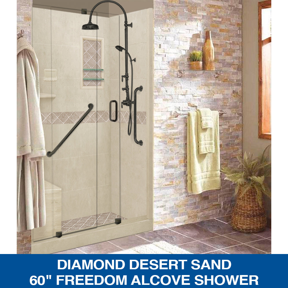 "Special SALE! Diamond Desert Sand 60"" ""FREEDOM Alcove Shower Kit"" with FREE FAUCET"
