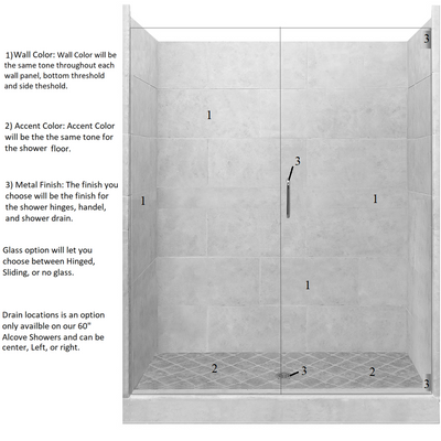 "4x4 60"" Alcove Shower Kit Style & Color Options  Shower - American Bath Factory"