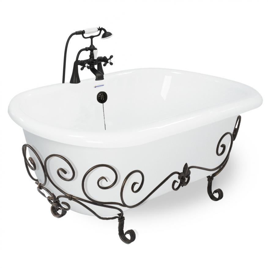 "Double Ended 60"" Nuevo & Faucet Package with I-drain  Bathtub Integrated - American Bath Factory"