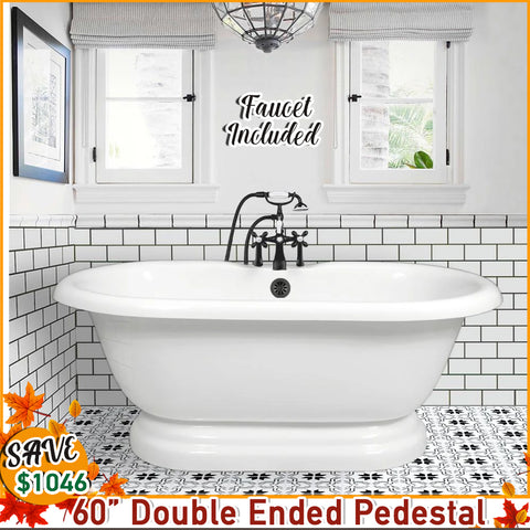 "Fall Special.  Double Ended 60"" Pedestal Base & Faucet Package with I-drain"