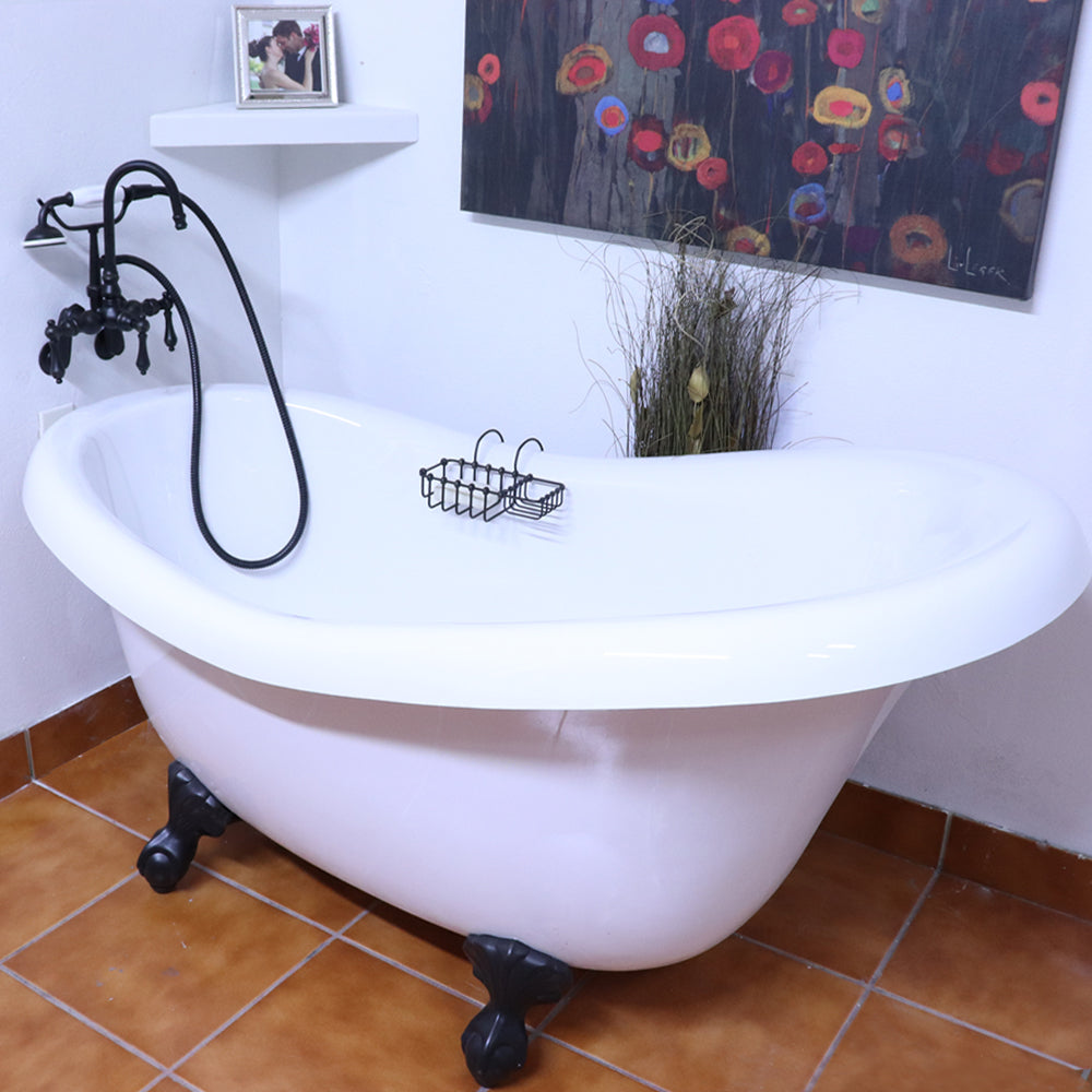 "Special SALE! 60"" Slipper Clawfoot  Bathtub with FREE F200 Faucet, chrome or Old World Bronze Metal Finish."