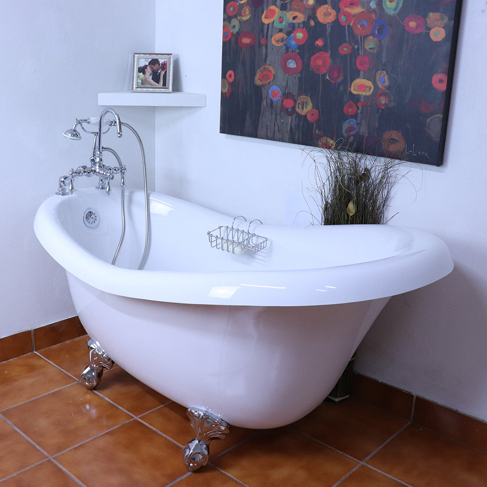 "NEW YEAR'S SPECIAL! 60"" Slipper Clawfoot  Bathtub with FREE F200 Faucet, chrome or Old World Bronze Metal Finish."