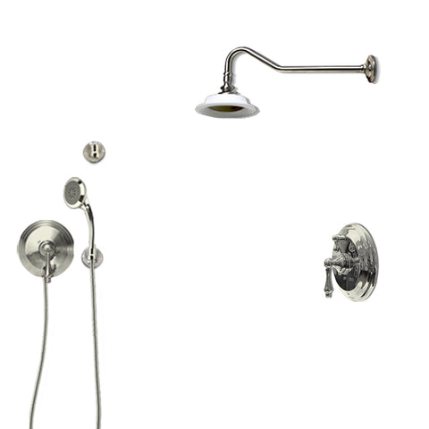 "F92FPS-CH Two In Wall Pressure Balanced Shower Valves, one Porcelain 6"" Shower-head, one Massaging Hand Shower"