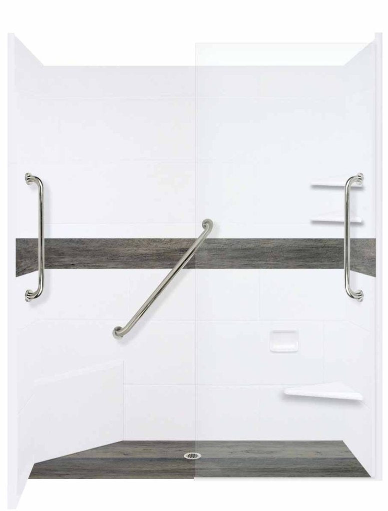 "Seasoned Wood Zero Threshold 60"" Alcove LifeProof Flooring Wood Collection Shower Kits  Shower Kit - American Bath Factory"