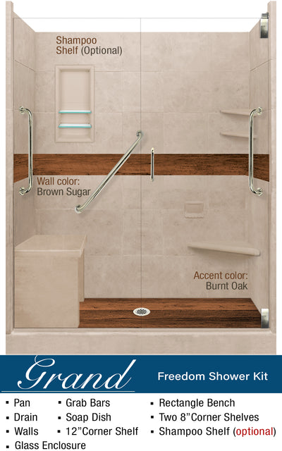 Burnt Oak Lifeproof Flooring Freedom Alcove Shower Kit  Shower Kit - American Bath Factory