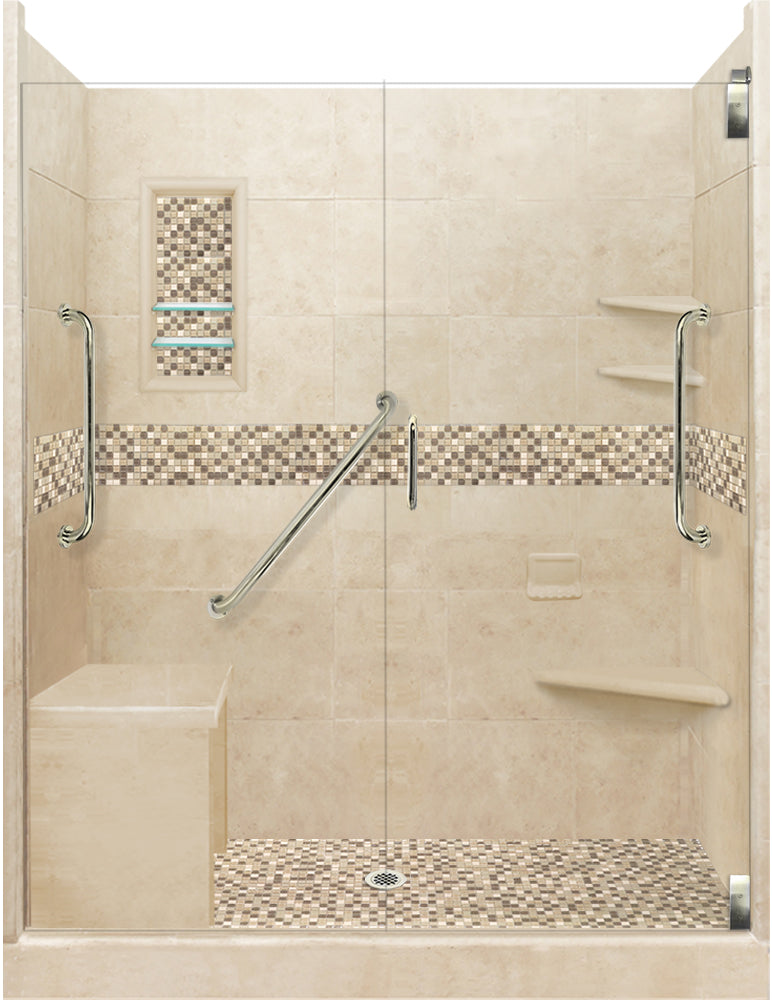 "Stone & Tile Shower Kit Roma 60"" x 30"" Freedom Grand Alcove  Google Ad Shower - American Bath Factory"