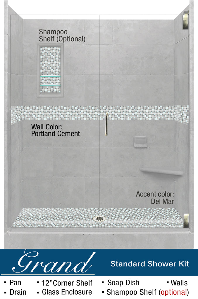 "Stone & Tile Shower Kit Del Mar 60"" Alcove With Glass Door G  Google Shower - American Bath Factory"
