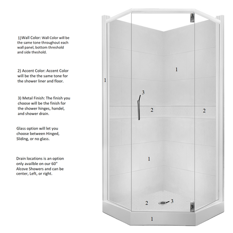 Classic Neo-Angle Shower Kit Style & Color Options - American Bath Factory