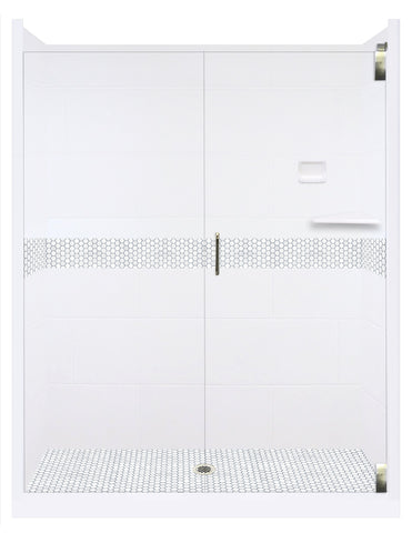 "Pearl Hex Natural Buff 60"" Alcove Hexagon Mosaic Shower Kits  Shower Kit - American Bath Factory"