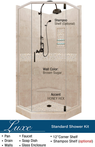 Honey Hex Mosaic Neo-Angle Shower Kit  Shower Kit - American Bath Factory