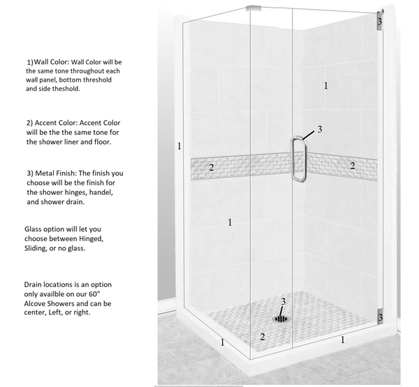 Jewel Corner Shower Kit Style & Color Options - American Bath Factory