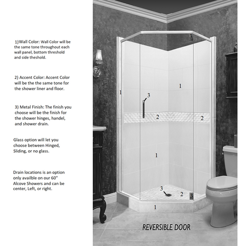 Jewel Neo-Angle Shower Kit Style & Color Options  Shower Kit - American Bath Factory