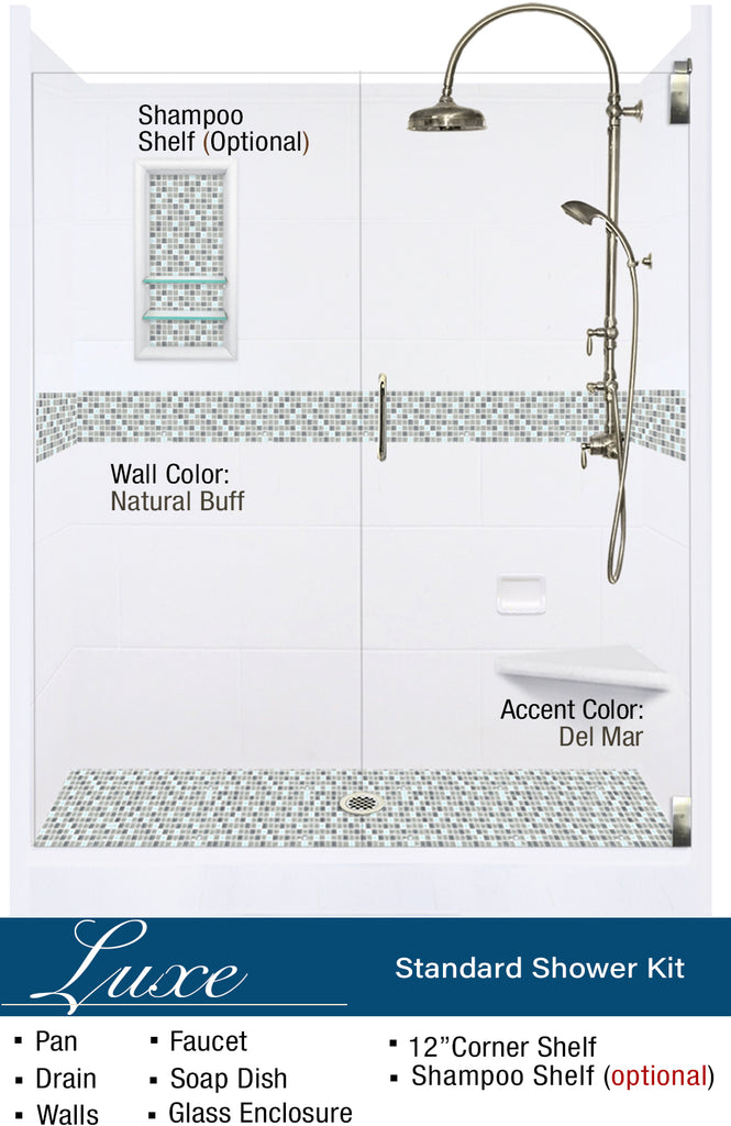 "Stone & Tile Shower Kit Del Mar 60"" Alcove G  Google Shower - American Bath Factory"
