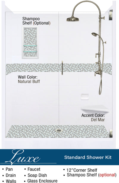 "Del Mar Mosaic 60"" Alcove Shower Kit  Shower Kit - American Bath Factory"