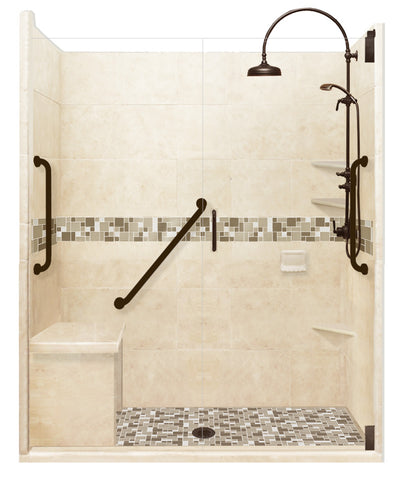 "Freedom Access 1"" Threshold Collection Tuscany Alcove Shower Kit - American Bath Factory"