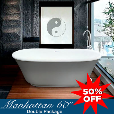 "Manhattan 60"" Double Painted Bathtub & Faucet Package  Bathtub - American Bath Factory"