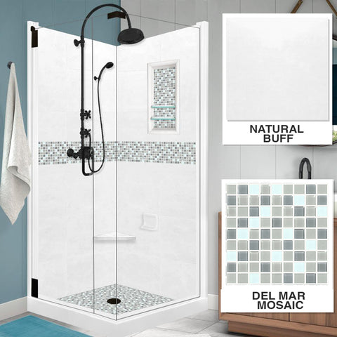 Del Mar Mosaic Natural Buff Corner Shower Kit