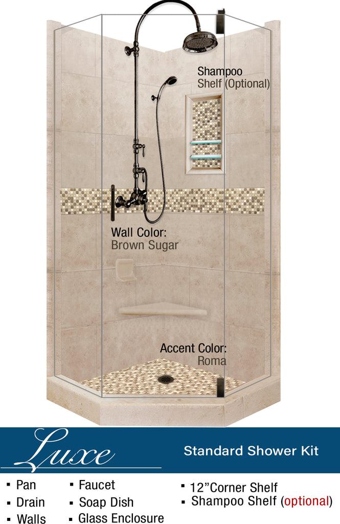 Roma Mosaic Neo-Angle Shower Kit  Shower Kit - American Bath Factory